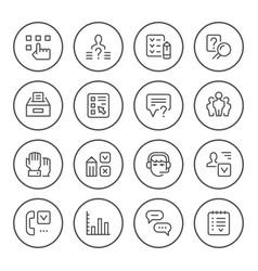 set round line icons survey vector image