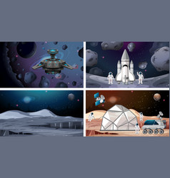 Set space ship and astronaut scene vector