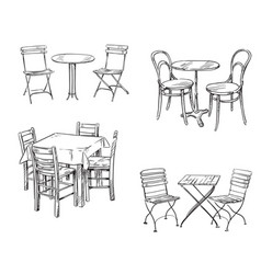 sets of tables and chairs furniture sketch vector image