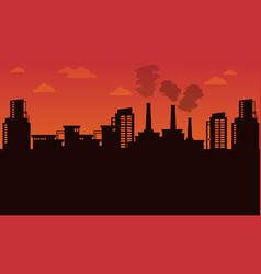 Silhouette of industry landscape vector