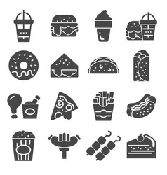 simple set of fast food icons vector image