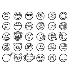 smiley hand drawings icon set02 in black and white vector image
