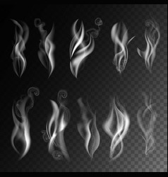 Smoke realistic 3d icons on transparent vector