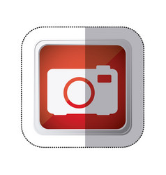 sticker red square button with silhouette analog vector image