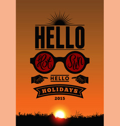 Summer time typography poster with sunset eps 10 vector