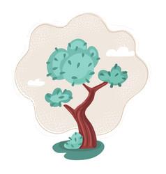 Summer tree at green meadow vector