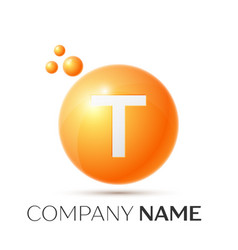 T letter splash orange dots and circle bubble vector