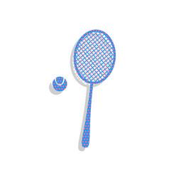 Tennis racquet with ball sign neon blue vector