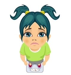 Top view of sad girl weighing herself on a scale vector