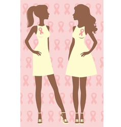 Two breast care awareness women vector