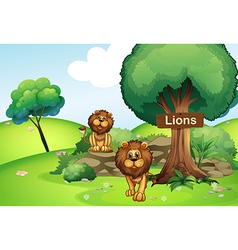 Two lions at forest with a wooden signboard vector