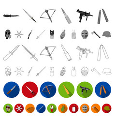 types weapons flat icons in set collection vector image