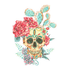vintage card with skull and roses vector image