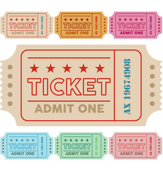 Vintage ticket with colors vector