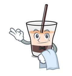 Waiter white russian mascot cartoon vector