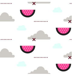 watermelon in the sky fun seamless pattern vector image