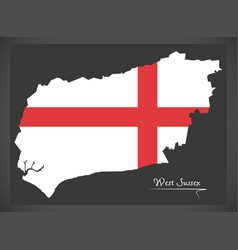west sussex map england uk with english national vector image
