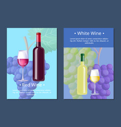 White wine poster with text on vector