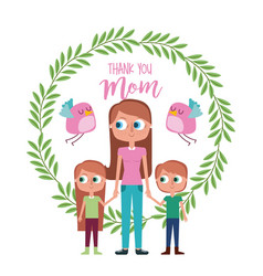 woman with child wreaht floral bird- thank you mom vector image
