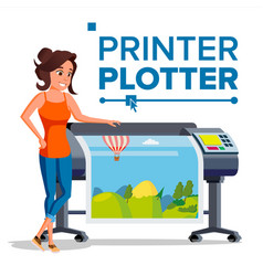 Worker with plotter woman prints vector