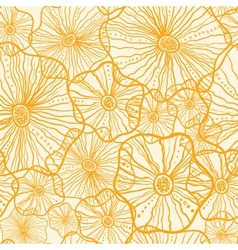 Yellow floral shapes seamless pattern background vector