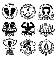 Boxing labels set with - boxer helmet vector