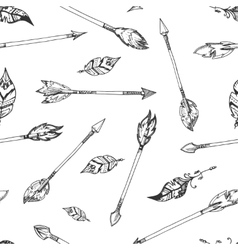 Hand drawn indian arrows seamless hippie vector image