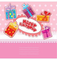 baby birthday card with gift boxes vector image