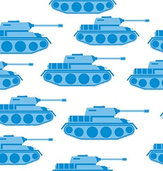 Cute Blue Tank seamless pattern military vector image vector image