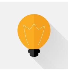 Flat orange lamp icon over grey vector image vector image