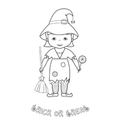 Halloween coloring page with cute witch vector