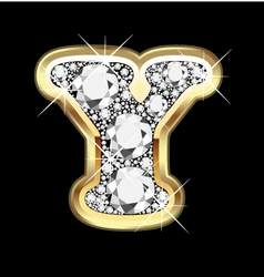 letter y gold and diamond vector image vector image