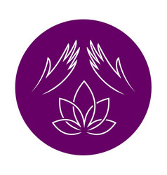 massage logo with elegant woman hands and lotus vector image vector image