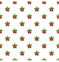 christmas bow with holly berry pattern vector image vector image