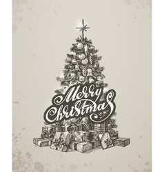 Christmas hand drawn fur tree for xmas design vector image vector image