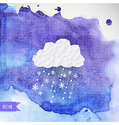 Cloud with snowfall on watercolor backdround vector