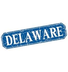 Delaware blue square grunge retro style sign vector