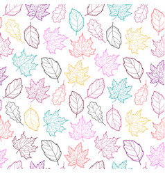 leaves seamless outline color vector image