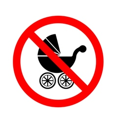 No Baby Carriage Sign on white background vector image vector image