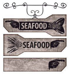 set of pointers with human hand and fish tail vector image