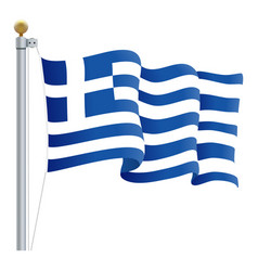 waving greece flag isolated on a white background vector image