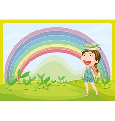 A smiling girl and a rainbow vector image