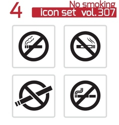 black no smoking icons set vector image vector image