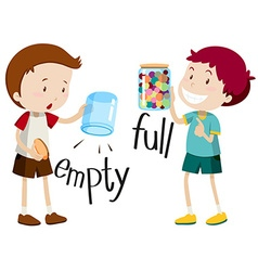 Boy with empty jar and boy with full jar vector image vector image
