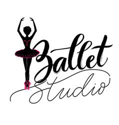 dance studio logo with young ballerina vector image vector image