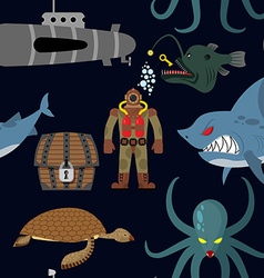 Deep sea seamless pattern Diver and shark on black vector image vector image