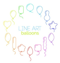 Thin line icon set of rainbow balloons of vector