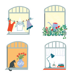 windows and home funny set in retro style vector image vector image