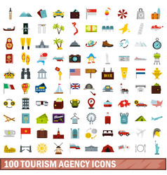 100 tourism agency icons set flat style vector image