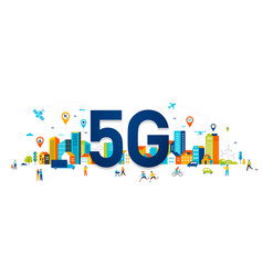5g flat people with mobile vector